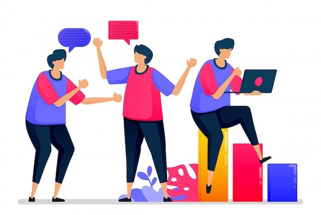 As pessoas conversam umas com as outras, conversam informalmente e dizem olá quando voltam ao trabalho.