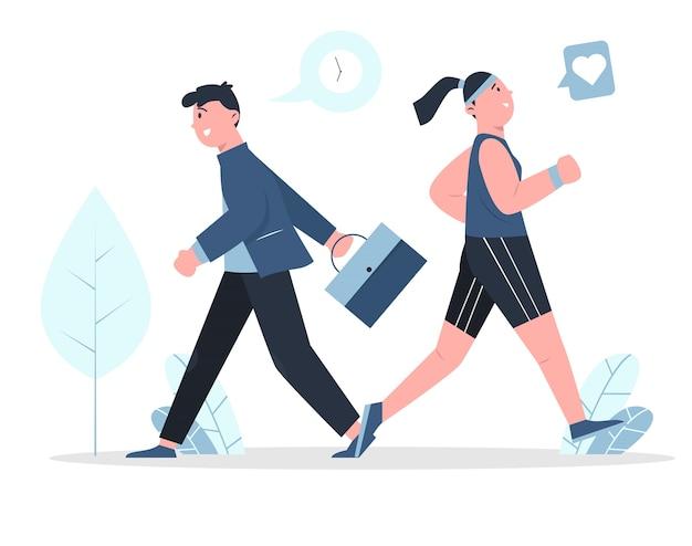 As pessoas correm o conceito. mulher corre para a saúde. homem corre voltando ao trabalho