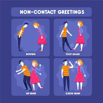 As pessoas cumprimentam sem contato de várias maneiras