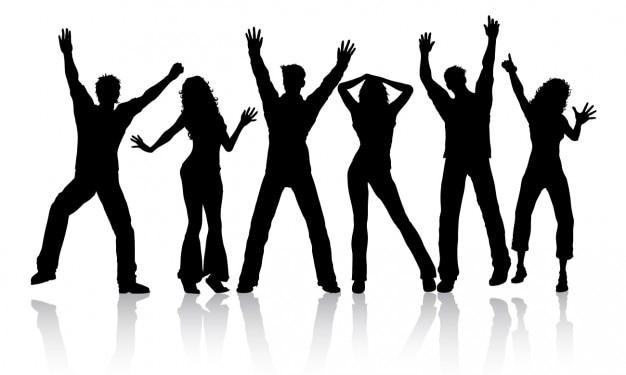 As pessoas dançando silhueta