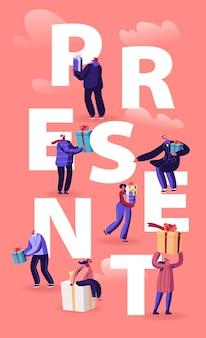 As pessoas dão e recebem o conceito de presentes. ilustração plana dos desenhos animados