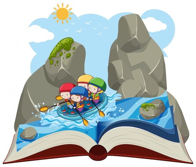 As pessoas de água rafting em um livro pop up