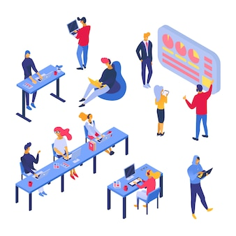 As pessoas de vetor criativos jovens trabalhadores sentados à mesa com o computador portátil no escritório
