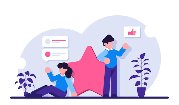 As pessoas deixam feedback e comentários com uma pontuação de cinco sendo a mais alta. avaliação de um produto ou serviço. uma pessoa compartilha sua opinião.