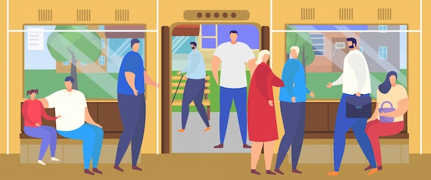 As pessoas desçam na plataforma da estação de ônibus, personagens de desenhos animados comutar no interior de transporte público ocupado