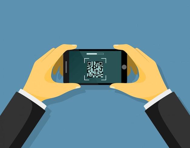 As pessoas digitalizam a ilustração do código qr.