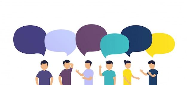 As pessoas discutem as notícias umas com as outras. troca de mensagens ou ideias, balões de fala em fundo branco.