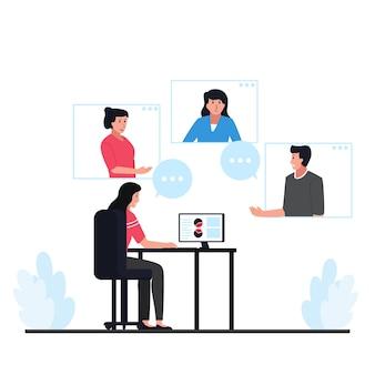 As pessoas discutem através da metáfora de vídeo de reunião remota.