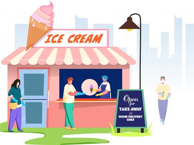 As pessoas do comprador usam máscara protetora para manter a distância social em frente à sorveteria, recebendo a mensagem aberta apenas para entrega em domicílio e take away. evite o coronavírus.