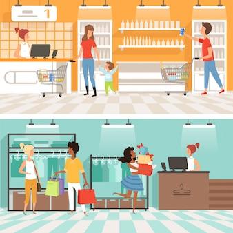 As pessoas do sexo masculino e feminino fazem compras no banner da loja
