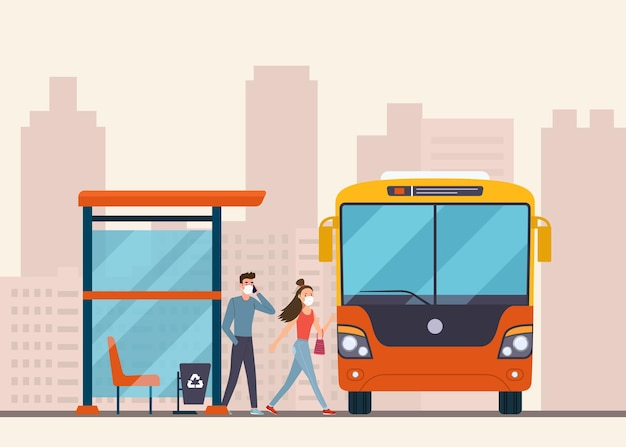 As pessoas entram no ônibus no ponto de ônibus
