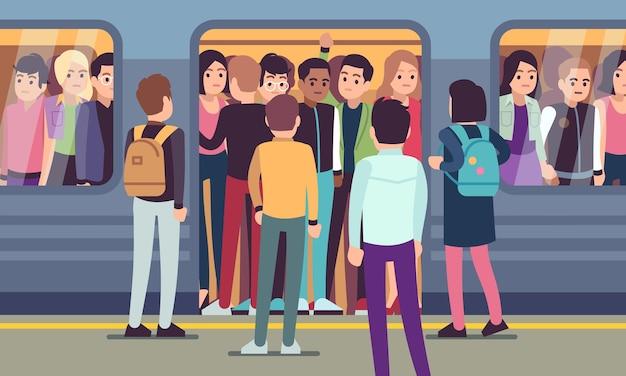 As pessoas entram no trem do metrô. transporte público urbano, plataforma de metrô