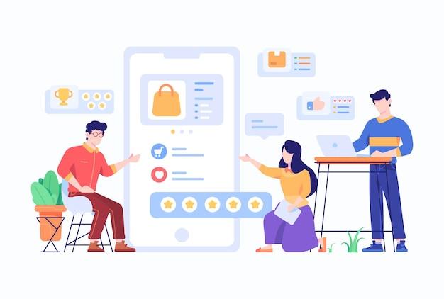 As pessoas escolhem e avaliam o produto no mercado online conceito flat style design illustration
