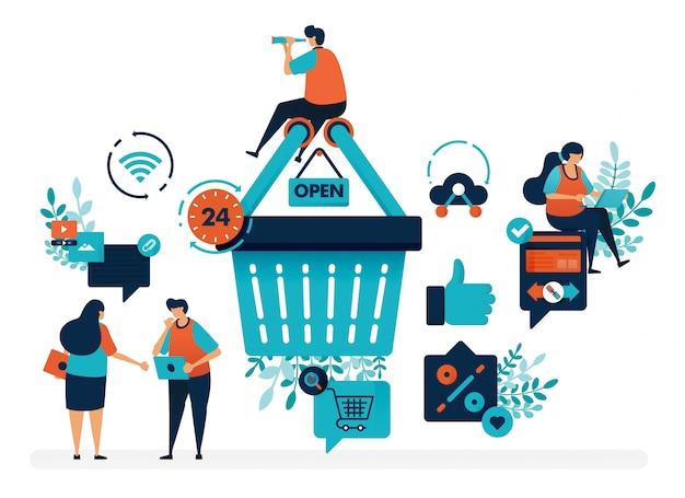 As pessoas estão ao redor do carrinho de compras para obter promoções e descontos. nível de satisfação do usuário com o polegar e o amor.