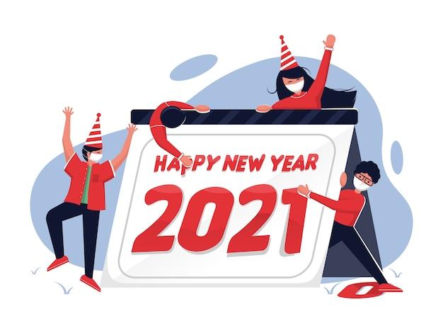 As pessoas estão comemorando o ano novo com calendário e usam máscara facial na ilustração Vetor Premium