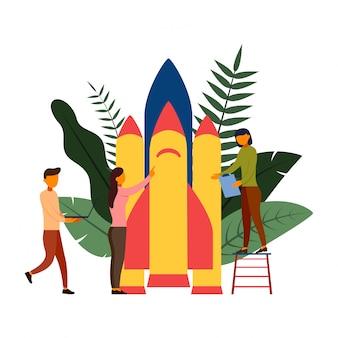 As pessoas estão construindo uma ilustração de foguete de nave espacial