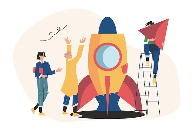 As pessoas estão construindo uma nave espacial, foguete, trabalho em equipe coeso no conceito de ilustração de inicialização