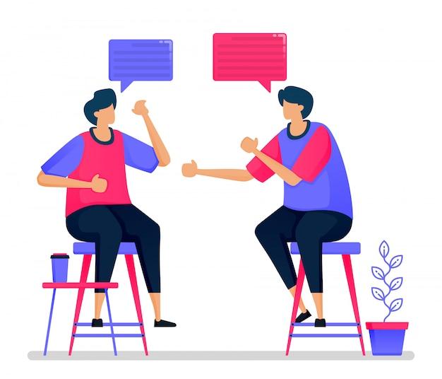 As pessoas estão conversando e debatendo em cadeiras, reuniões e conversas.