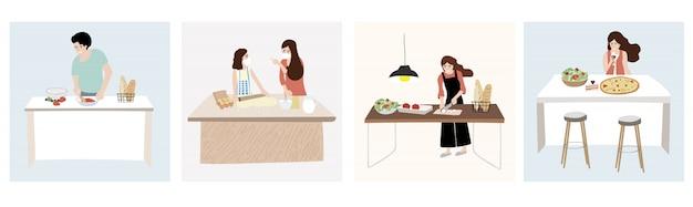 As pessoas estão cozinhando em casa. mulher e homem em casa em quarentena