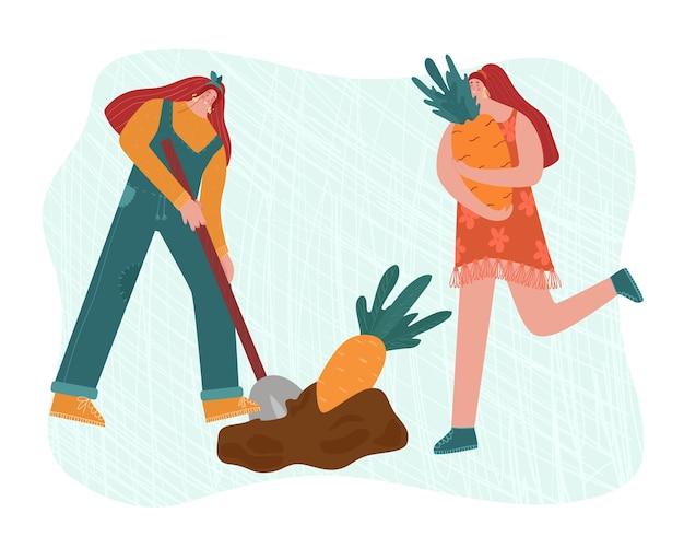 As pessoas estão fazendo jardinagem. uma mulher está cavando cenouras.