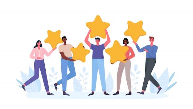 As pessoas estão segurando estrelas, dando feedback de cinco estrelas.