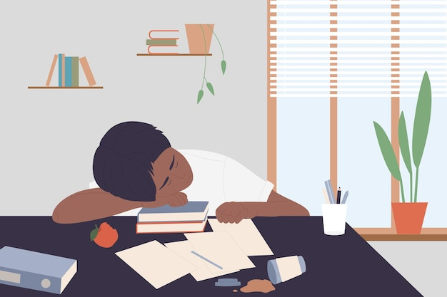 As pessoas estudam muito, um estudante cansado, dormindo na mesa ao lado de livros, sobrecarregando o trabalho