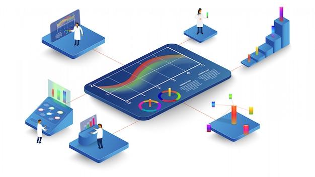 As pessoas estudam processos dinâmicos em gráficos e diagramas. infografia 3d isométrica.