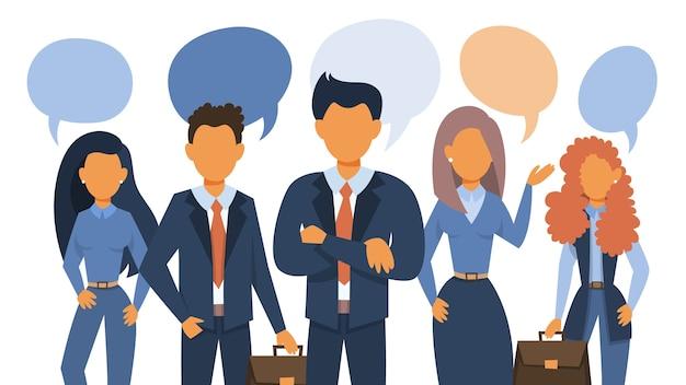 As pessoas falam usando balão de fala. grupo de empresários