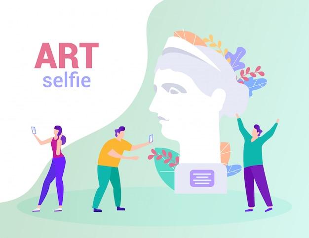 As pessoas fazem foto na estátua de fundo. art selfie