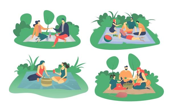 As pessoas fazem piquenique no parque, ilustração isolado no branco, família ou amigos comem e bebem no piquenique, estilo simples.