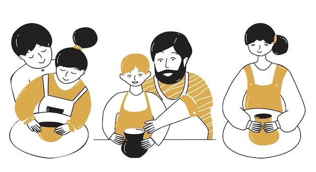 As pessoas fazem produtos de argila em uma oficina de cerâmica. ilustrações em estilo simples.
