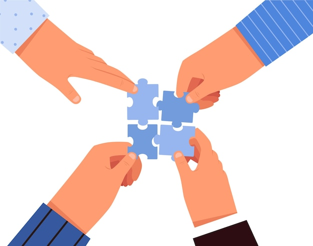 As pessoas fazem quebra-cabeças com as mãos juntas. conceito de trabalho e colaboração em equipe. isolado em um fundo branco.