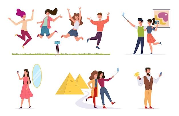 As pessoas fazem selfie. homens e mulheres tirando fotos na câmera do smartphone, amigos usando stick de selfie. personagens vetoriais conjunto de férias