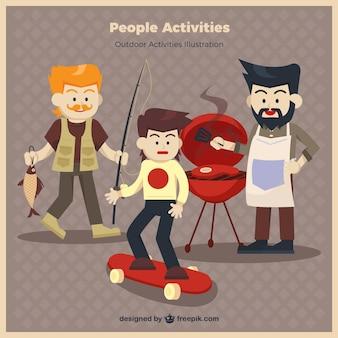 As pessoas fazendo atividades engraçadas