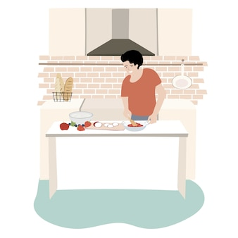 As pessoas ficam em casa em quarentena e cozinham para relaxar.