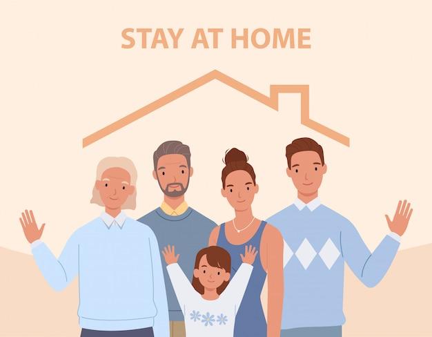 As pessoas ficam em casa. jovens pais, filhos e avós dentro de casa. ilustração em um estilo simples