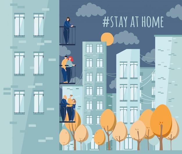 As pessoas ficam em casa para reduzir o risco de infecção. Vetor Premium