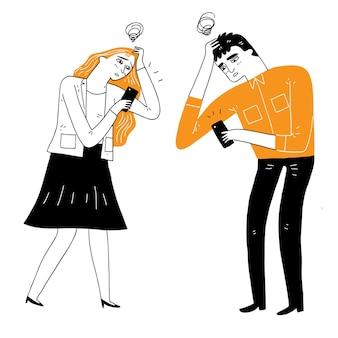 As pessoas ficam frustradas com algo recebido no smartphone. ilustração vetorial