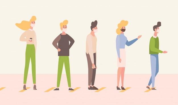 As pessoas ficam na fila e mantêm a ilustração plana da distância social. as pessoas mantêm distância para proteger o coronavírus.