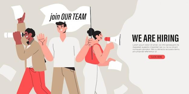 As pessoas gritam em alto-falante. contratação ou recrutamento de emprego.