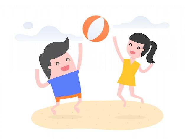 As pessoas jogam bola de praia na praia.