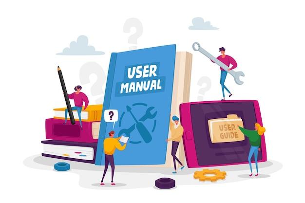 As pessoas lêem o livro com instruções para o equipamento. conceito do manual do usuário. personagens com algumas coisas do office que discutem o conteúdo do guia