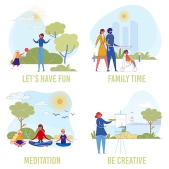 As pessoas levam estilo de vida saudável, ativo e criativo