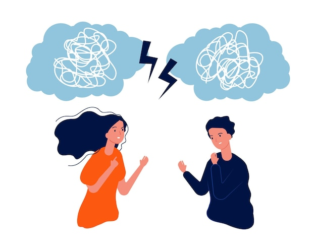As pessoas lutam. homem mulher problema mental, bagunça na cabeça. ilustração do vetor de casal negativo agressivo. problema de homem e mulher, estresse mental com raiva