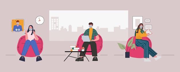 As pessoas mantêm o distanciamento social em um novo estilo de vida normal.