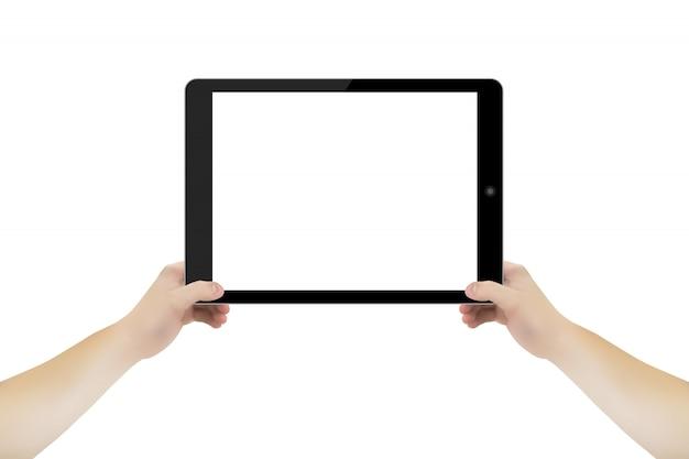 As pessoas mão com almofada de tablet.