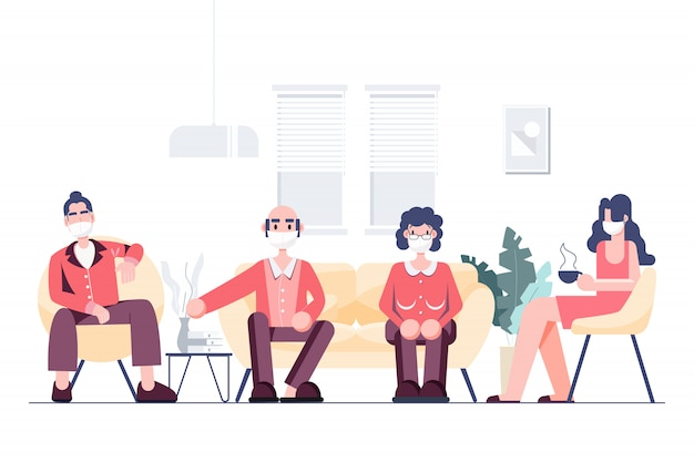 As pessoas na família que usam máscaras de distanciamento social ficam em casa conceito. surto de coronavírus covid-19.
