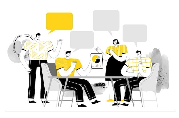 As pessoas na reunião falam e discutem ideias