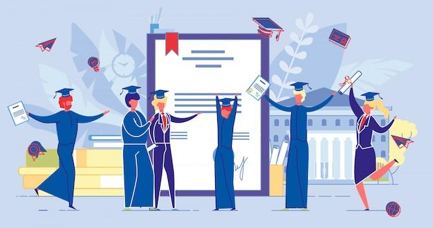 As pessoas obtêm certificado de diploma, universidade de acabamento.