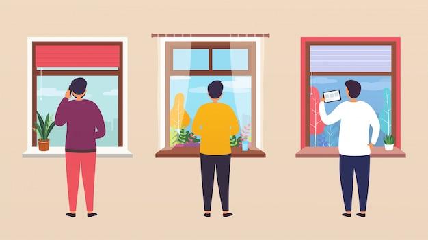 As pessoas olham pela janela, conversando com colegas on-line por telefone, pensando, trabalhando em casa.